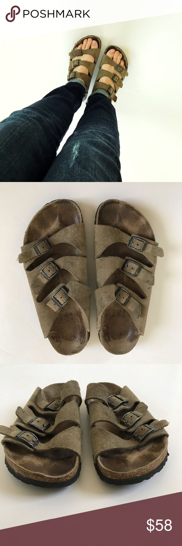 """Birkenstock 3 Strap Sandals """"Birki's"""" 3 strap slide sandals. Tan/light brown color. Size 38 L7 M5. If you're familiar with Birkenstock sizing you know they run big. I normally wear 7.5 or 8 and these fit. See photos for marks of wear on footbed, curling on one heel, pic 7 shows some stains on the inside part of sandal that aren't very noticeable when wearing. These have alot of wear but last a long time so there is still plenty of life left in them. I understand the condition isn't perfect…"""