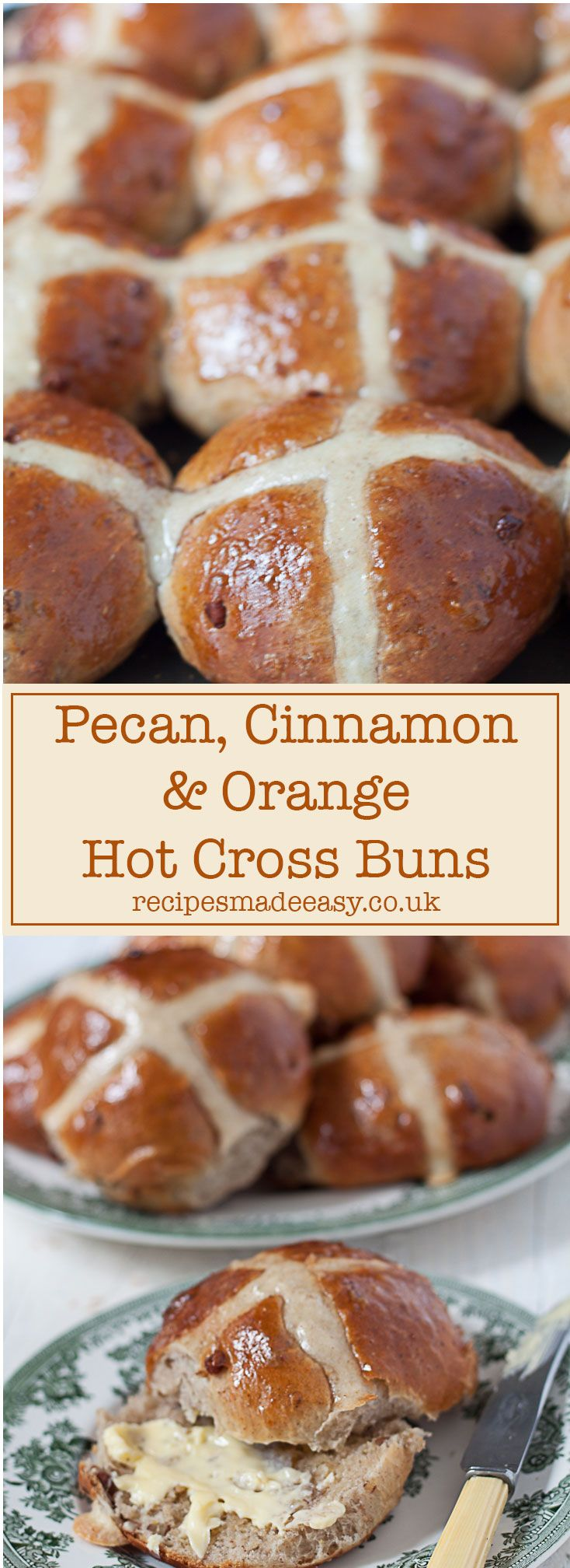 Celebrate Easter with these Pecan, Cinnamon and Orange Hot Cross Buns - A delicious nutty alternative to traditional Hot Cross Buns. via @jacdotbee
