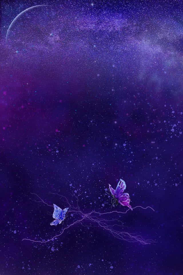 七夕紫色夢幻背景圖七夕紫色夢幻星空蝴蝶幻想星月暫無 Meme Background Cute Wallpapers Starry Sky