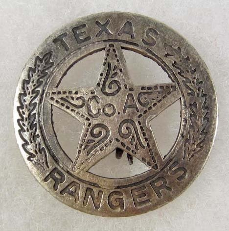 We don't think its the real deal but it sold for $120 at an auction online. It looks exactly like our reproduction Texas Ranger Co. A badge. Ours are made out of copper and finished with a silver antiqued finish. If you take a piece of steel wool to it you will expose the copper. We sell them for $15. Hate seeing people get soaked. http://www.circlekb.com/product/PH-24.html