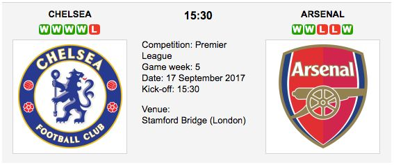 Chelsea vs. Arsenal predictions for Sunday's English Premier League 2017/2018 match at Stamford Bridge (London).  Chelsea vs. Arsenal - Premier League Preview & Tips Match Date: 17th September 2017 (local) Venue: Stamford Bridge (London)
