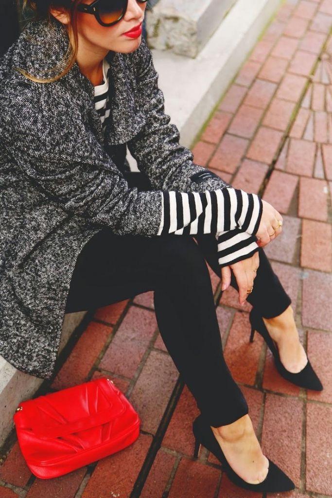 #street #style / neutrals + red: