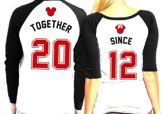 His and Hers matching Mickey and Minnie Raglan Shirts - His and Hers Baseball Shirts - Disney Couples Anniversary Year Shirts by PatsCustoms on Etsy https://www.etsy.com/listing/211916114/his-and-hers-matching-mickey-and-minnie