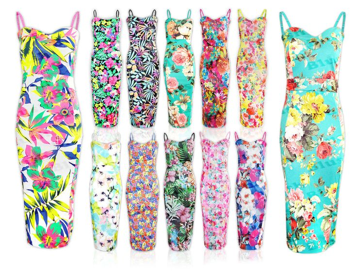 Ladies Tropical Floral Hawaiian Bodycon Sleeveless Pencil Midi Summer Dress 8-26