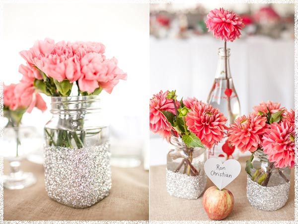 Inspirations Diy Simple Wedding Centerpieces With Pink Flowers The Apple Orchard Of Caitie And Andrew