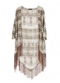 Snakeskin-print Fringed Kimono Stone/Beige