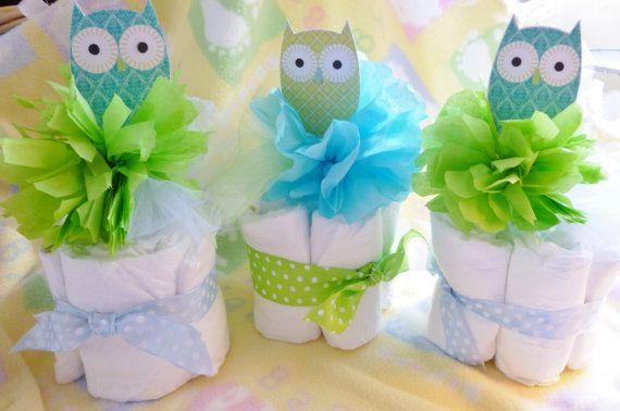Owl Diaper Cake...Woot Hoot...Owl Baby Shower..Boy...Girl...Neutral..Look Whoo's Having a Baby :)