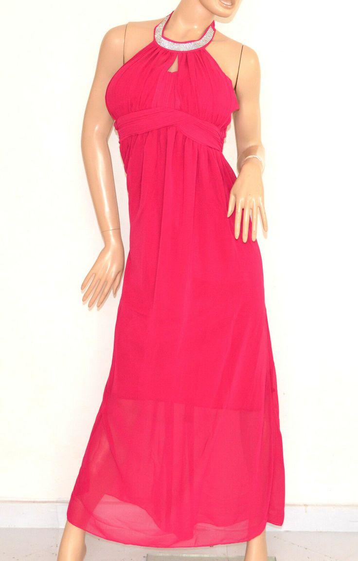 VESTITO ROSA FUCSIA elegante ABITO LUNGO strass seta cerimonia party dress E130 …