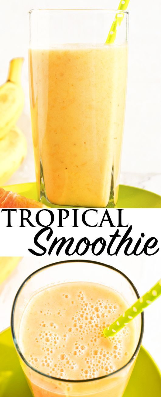 This TROPICAL ORANGE MANGO SMOOTHIE recipe is quick and easy to make with simple ingredients and perfect for breakfast or an after workout snack! This healthy smoothie is also very refreshing during the hot Summer days! From cakewhiz.com