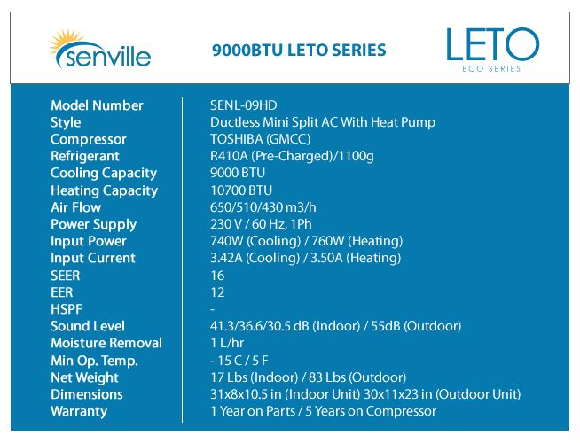 Senville Leto 9000BTU Mini Split Heat Pump