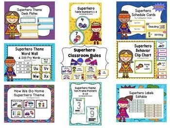 This bundle includes 9 paid products for $9.00. Click on the links to see each one individually. Superhero Class Rules Superhero Behavior...