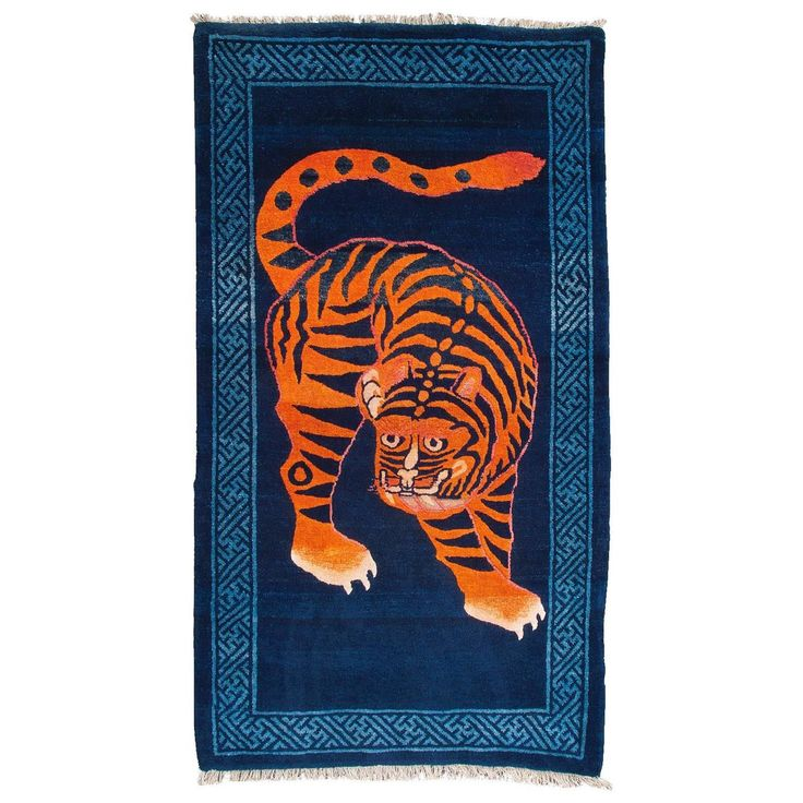 Charming Collector's Piece Antique Chinese Baotou Tiger Rug | From a unique collection of antique and modern chinese and east asian rugs at https://www.1stdibs.com/furniture/rugs-carpets/chinese-rugs/
