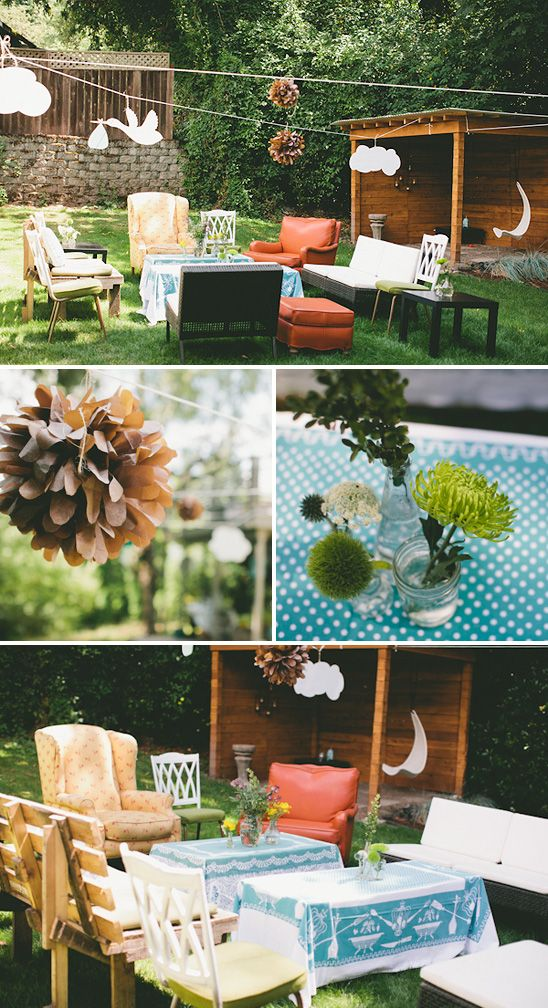 Whimsical outdoor baby shower- love the white floating cutouts stork, cloud, brown (pink) puff