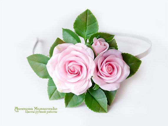 Hairband Pink Roses Polymer Clay Flowers by SaisonRomantique