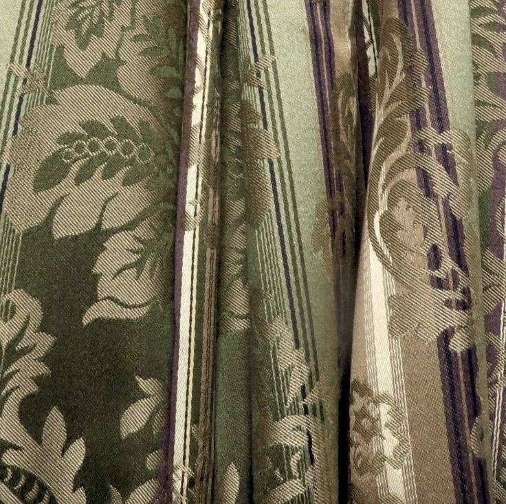 36 Yards Traditional Olive Damask Stripe Drapery Upholstery Fabric From Hi End Furniture Company