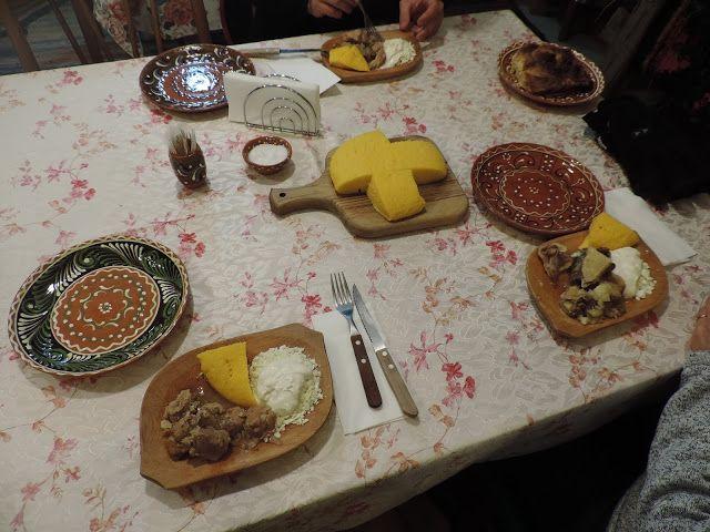Roast Pork, Roast Duck, sheep's cheese, cream and polenta. Good home cooked food in Trebujeni, Moldova