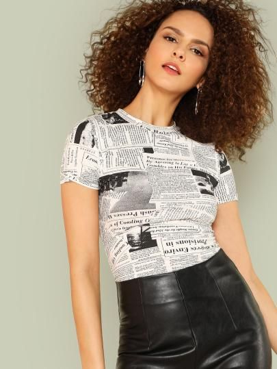 6f9cfbf3 SHEIN Newspaper Graphic Print Tee..... dresses,cocktail dresses, party  dresses, summer dresses,womens clothes,shein,ladies dresses,outfits,sexy  dresses,tops ...
