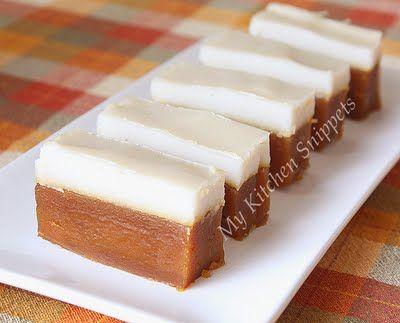Kuih Talam Gula Melaka/Steamed Palm Sugar Cake
