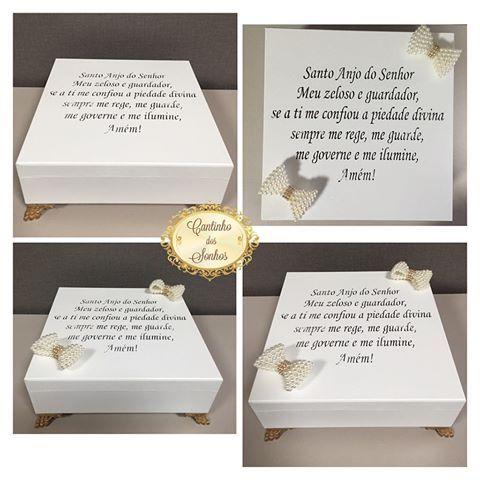Caixa organizadora para quarto de bebê com oração do Santo Anjo #feitoamao #artesanato #caixaspersonalizadas #caixa #caixasdecoradas #quartodebebe #quartodemenina #bebe #bebê #baby #babyroom