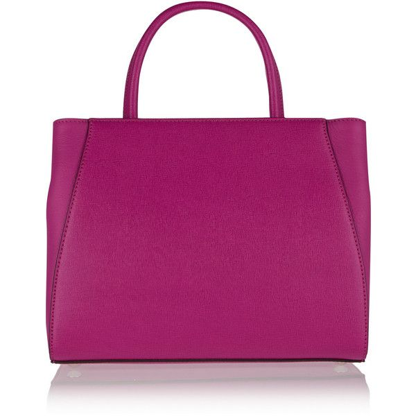 Fendi 2Jours small textured-leather shopper ($1,900) ❤ liked on Polyvore featuring bags, handbags, tote bags, pink, purple handbags, purple tote bag, fendi handbags, structured tote and top handle handbags
