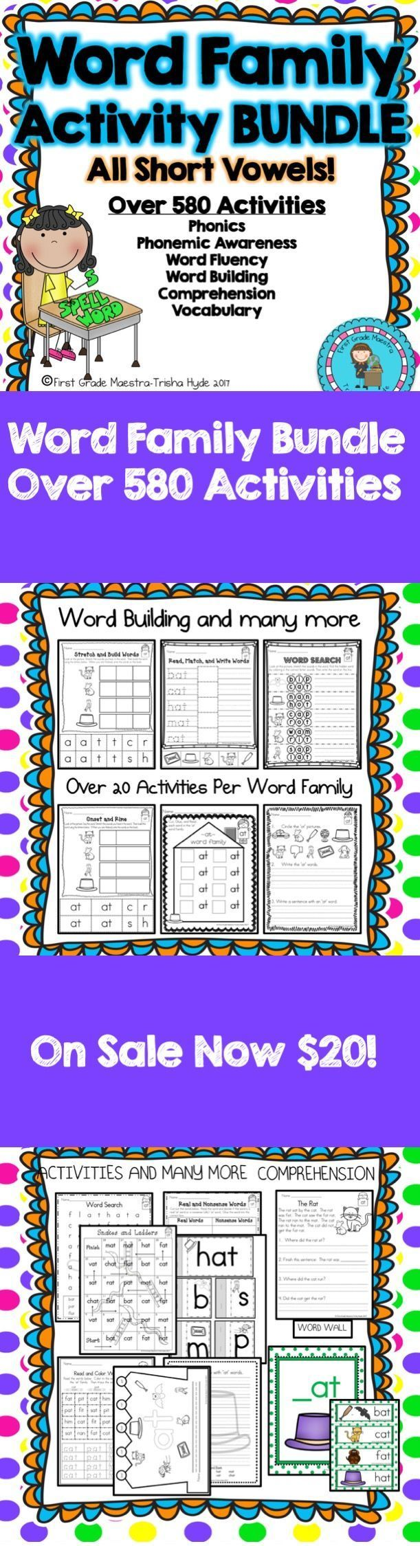 This Word Family Bundle has over 25 different word families.  Short Vowels A, E, I, O, U are included in this bundle.  Word Families ab, ad, ag, am, an, ap, at, eb, ed, eg, en, et, ib, id, ig, in, ip, it, ob, od, go, op, to, up, ud, ug, um, un, up, ut are included.  Click the Visit Button to see all of the resources in this product.