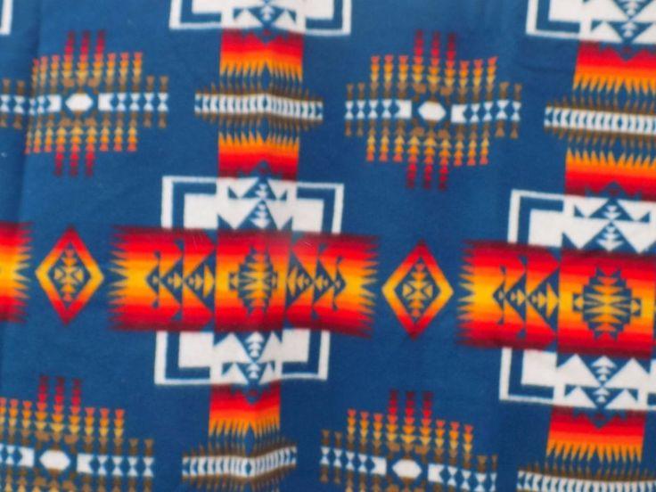 PENDLETON WOOL BLANKET ROBE 68 x 70 TRIBAL CHIEF JOSEPH MARINE BLUE BEAVER STATE #Pendleton