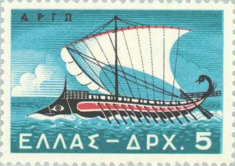Argo, the ship of the Argonauts in a Greek stamp. The Argo ship was build in three months, but a modern reconstruction using only ancient tools after 15 months hard work could not finish even half of the c. 28 m long ship.