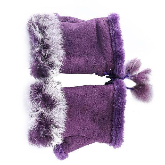 Faux Fur Wrist Warmer Fingerless Gloves -T
