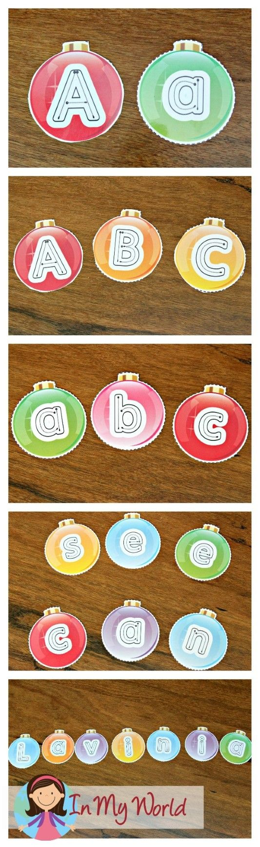 FREE Christmas Preschool Centers Alphabet Ornaments. Use them to spell out sight words or your children's names and display them in your classroom.