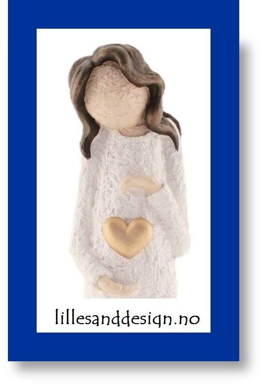 Handmade in Lillesand, Norway.  A sweet figurine, simply beautiful.https://www.lillesanddesign.no/produkt/damefigur-viser-gullhjerte-grov-struktur-farge-hvit-gull-hjerte-brunt-har/