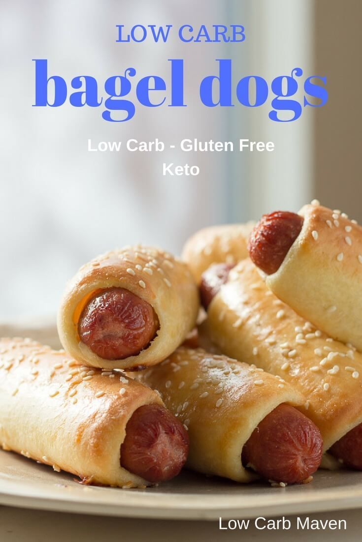 Low Carb Bagel Dogs - a perfect low carb or keto lunch or dinner. gluten free via @lowcarbmaven