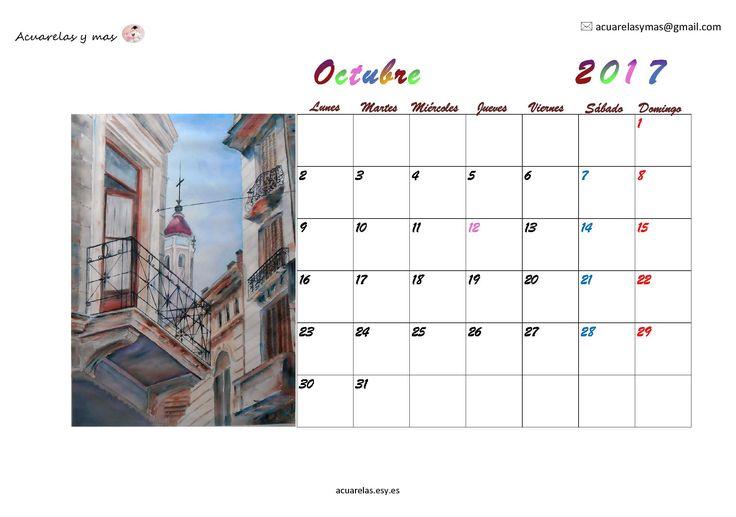 #octubre #October en mi #calendario #Calendar 2017 los nacimientos de mis ❤❤ hijas y de muchos seres queridos en este mes. Deseo que haya en sus vidas muchos nacimientos maravillosos!!!! #artist #draw #watercolor #acuarelas #painting
