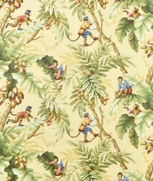 P Kaufmann Jungle Boogie Banana Yellow Dressed Circus Monkeys Drapery Fabric | eBay