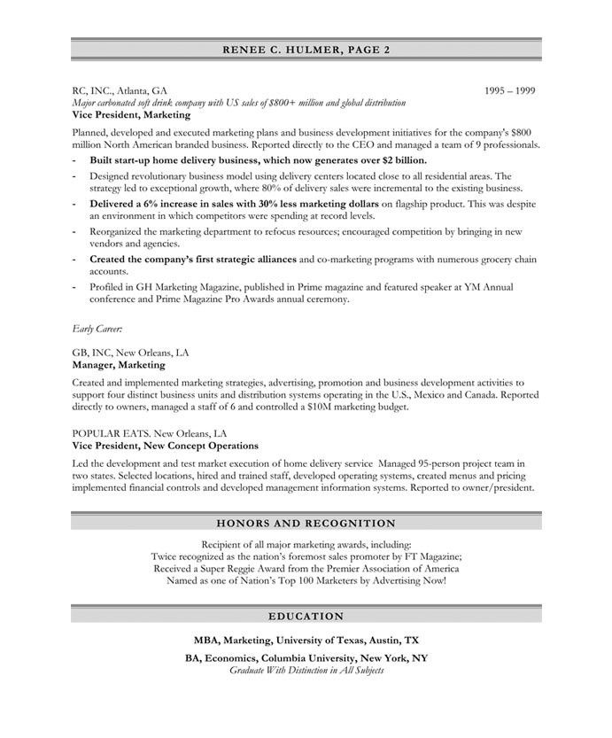 Marketing Executive Page2 · Free Resume SamplesMarketing Resume