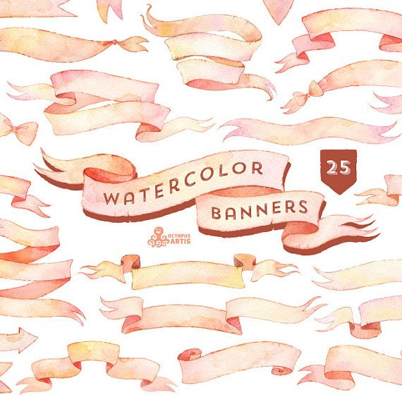 Watercolor Banners Clipart: 25 Digital files. Hand painted, ribbons, vintage, clip art, separate png, diy elements