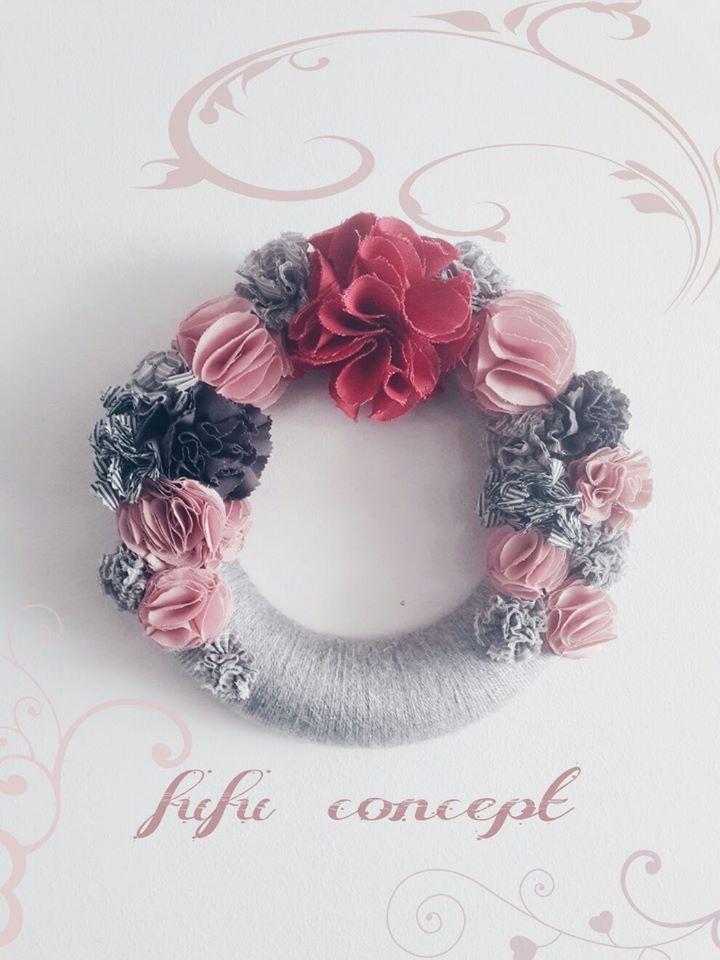 fufu concept - el işi tasarım kapı süsü - kumaş - fabric - flower - çelenk - door - wreath