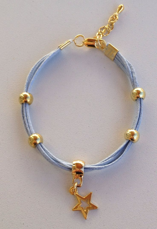 Baby blue string star bracelet pulseira de fio azul bebe com pingente de estrela