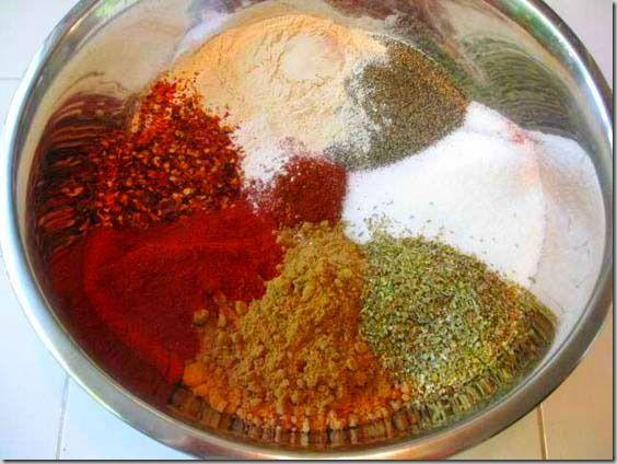 Bulk Taco Seasoning- 4 1/2C Chili Powder, 2 1/4C Cumin, 1 1/2C sea salt, 3/4C black pepper, 3/4C paprika,1/3C dried oregano flakes, 1/3C onion powder, 1/3C garlic powder, 1/3C crushed red pepper flakes
