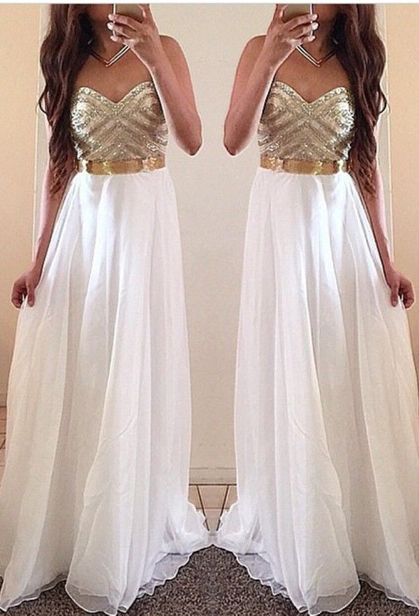 White Sweetheart Chiffon Long Prom Dresses,Evening Dresses,Women Dresses,Beading