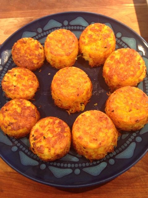 Tadig Cupcakes : 3 c. cooked basmati rice,  2 tbs plain yougurt, 1 egg, 1 tbs minced garlic,3 tbs saffron water. oil spray, Salt and pepper . Add rice, garlic, saffron, salt and pepper, yogurt. To make saffron water grind 1/2 tsp of saffron threads & add 3 tbs boiling water. Place in preheated 450-degree oven for 20 min. Then cover w/foil & bake for 15 min more