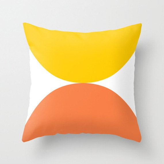 "narcissus, yellow cushion, orange cushions, cushion cover, pillow covers, mid century modern. 16"" x 16"", 18"" x 18"", 20"" x 20"" or 24"" x 24""."