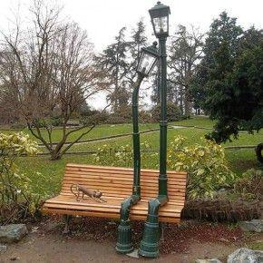 Les lampadaires amoureux du parc Valentino à Turin