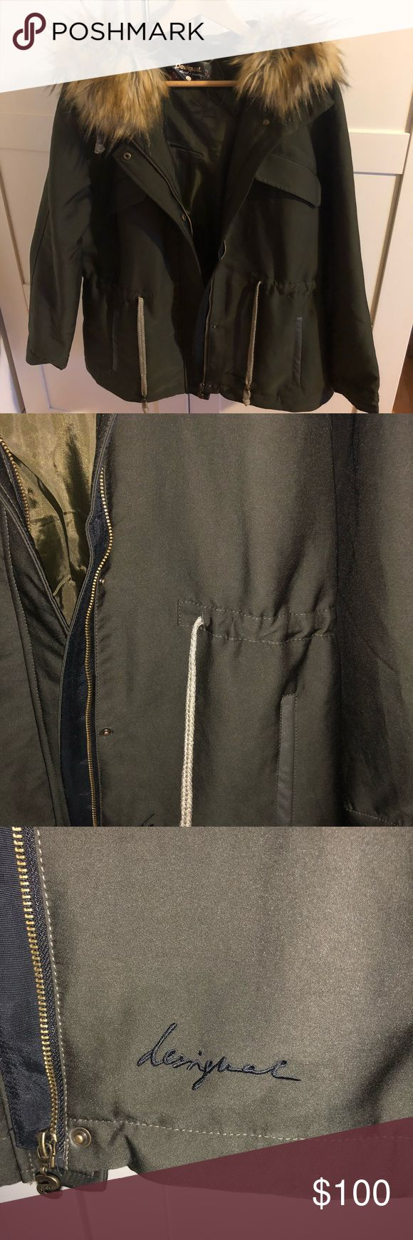 Desigual Women's 3/4 Length Coat 3/4 length coat.  Only worn twice, like brand new.  Zip front, snap front closure. Faux leather detail at pocket.  Front tie waist.  Wool lined hood w/ faux fur. Beautiful embroidery on back of jacket. Olive green jacket. Desigual Jackets & Coats