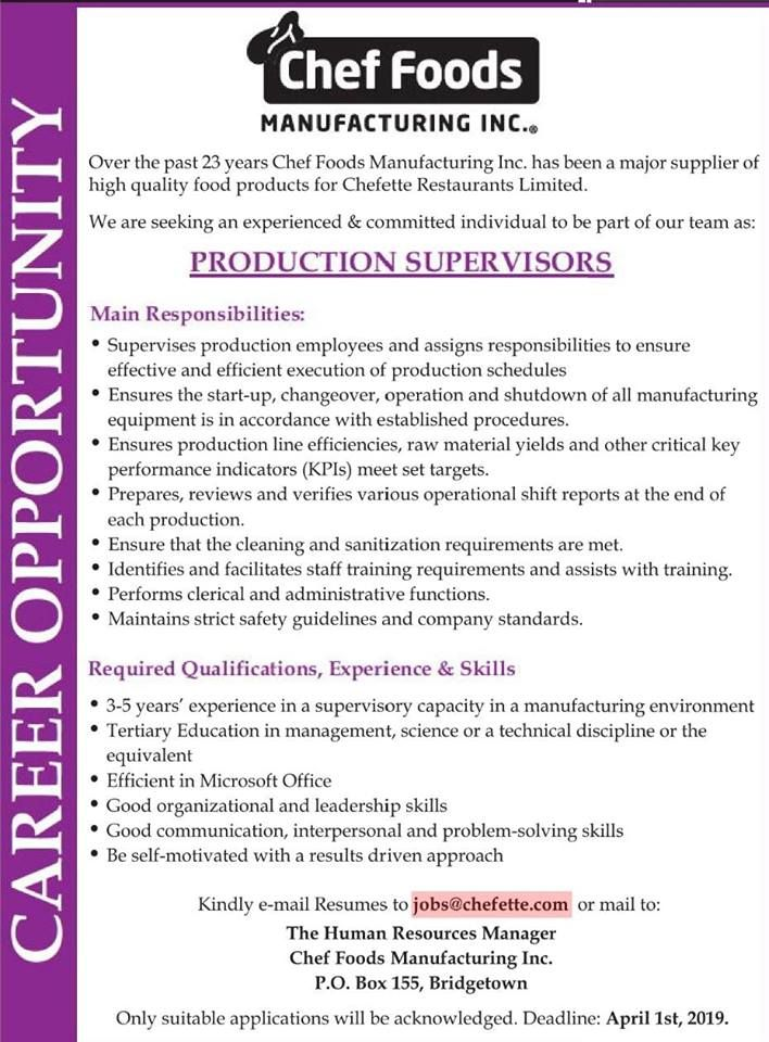 Chef Foods Manufacturing Inc Is Seeking Production Supervisors