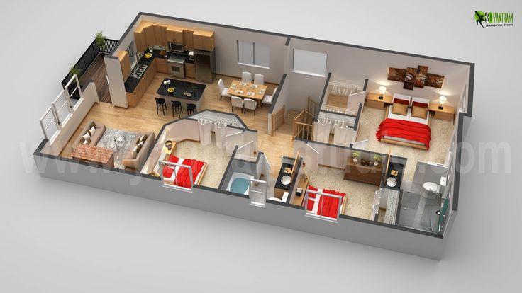 3d first floor plan design rendering animation floorplan for Floorplanner for restaurants