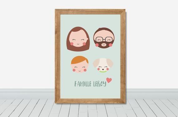 Cadeau saint valentin personnalisé portraits de la famille, Cadeau