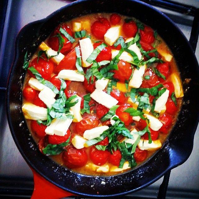 Oven roasted cherry tomatos with garlic,feta and basil  #cleaneating #primal #vegegoodness #wholefoods #kidsloveit #glutenfree #homegrownveg #homemadegoodness