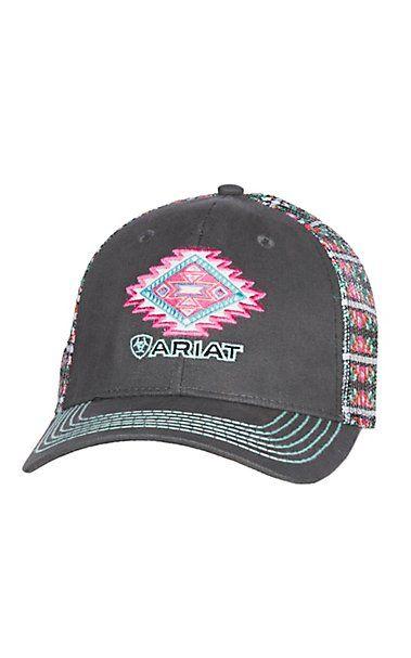 a3fed6c8177 Ariat Grey Aztec Patch Velcro Back Cap
