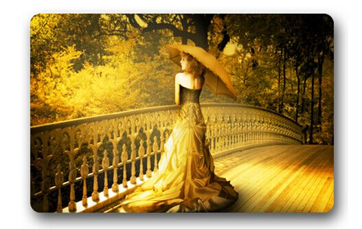 Бесплатная Доставка Пользовательские Прочный Коврик Домашнего Декора Стильный Спальня Ковер Классический одетый золотая девочка Ванная Комната Матс #СД-034