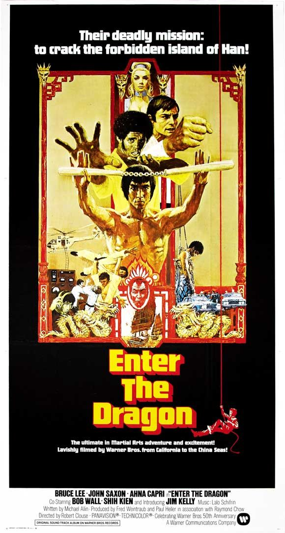Enter the Dragon (1973)★★★★★ If kung fu is now the standard badass language, Enter the Dragon -- featuring Lee's great slow-burn stare -- is the first grammar lesson.A pretty excellent action film that gives [Star] Lee the chance to play the dashing hero... A pop-masterpiece, and one of the finest pieces of pure action cinema ever made.